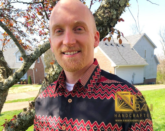 Black 'n' Red African Print Shirt, AfroStyling, Mens Shirt