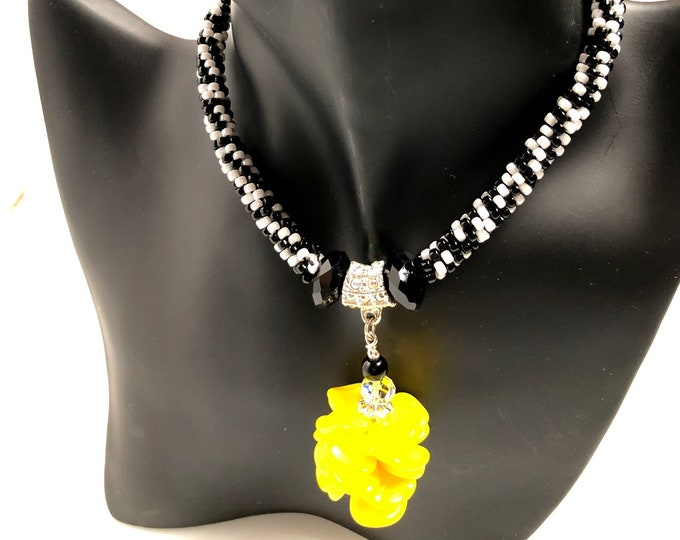 Crisp Color Graphic Necklace/ Yellow/ Red/ Black/ White/ Beaded/ Kumihimo