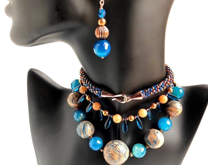 Blue 'n Copper Marble Necklace & Earrings Set