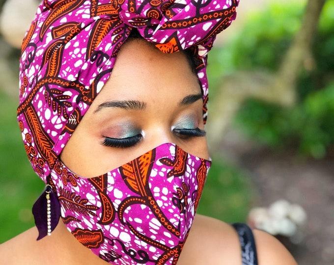 HEADWRAP & FACE MASK set, African Print Face Mask, Ankara Mask, 100% Cotton Reusable Face Mask w/ Filter Pocket, Shaped Mask HWFM2011