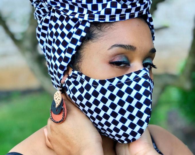 SugarCube HEADWRAP & FACE MASK set, African Print Mask, Ankara Mask, 100% Cotton Reusable Face Mask w/ Filter Pocket, Shaped Mask HWFM2014
