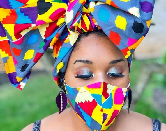 HEADWRAP & FACE MASK set, African Print Face Mask, Ankara Mask, 100% Cotton Reusable Face Mask w/ Filter Pocket, Shaped Mask HWFM2010