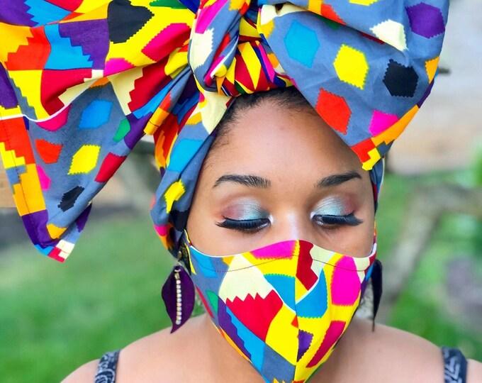 Dela HEADWRAP & FACE MASK set, African Print Face Mask,Ankara Mask, 100% Cotton Reusable Face Mask w/ Filter Pocket, Shaped Mask HWFM1010