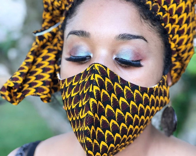 Mansa HEADWRAP & FACE MASK set, African Print Face Mask, Ankara Mask, 100% Cotton Reusable Face Mask w/ Filter Pocket, Shaped Mask HWFM2012