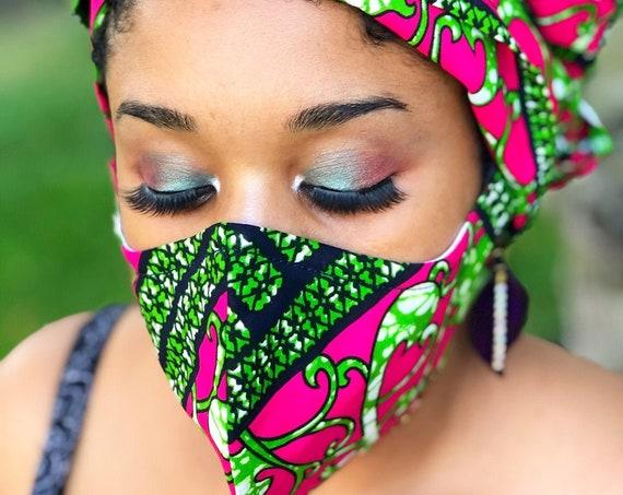 HEADWRAP & FACE MASK set, African Print Face Mask, Ankara Mask, 100% Cotton Reusable Face Mask w/ Filter Pocket, Shaped Mask HWFM2013
