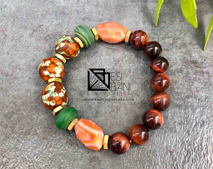 Cognac in Savanna Men's Tiger Eye Bracelet, Gemstone bracelet, Unisex Stretch bracelet, African bracelet