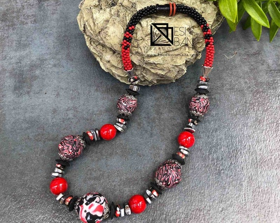 Red Nile Necklace, chunky necklace, polymer clay necklace, kumihimo necklace