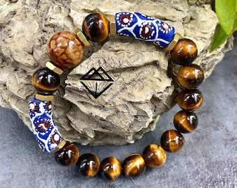 Blue n Brown Serenity Men's Tiger Eye Bracelet, Gemstone bracelet, Unisex Stretch bracelet, African bracelet