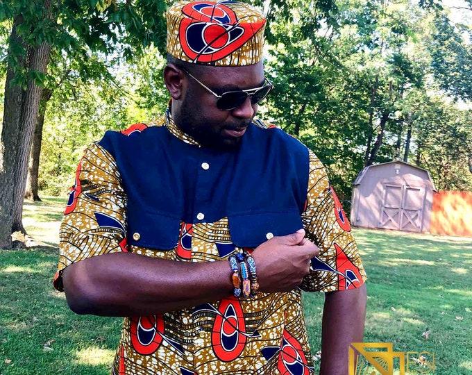 ORANGE-NAVY BLUE Men's Shirt with Kufi hat, short Sleeve African Print Shirt, Kitenge Shirt, Ankara Shirt, Kufi hat