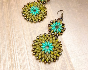 Turquoise 'n Olive Picasso Earrings