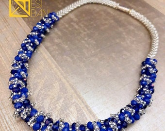 Blue 'n Ice Beaded Necklace