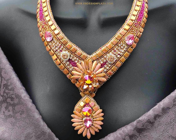 FUCHSIA 'n' ROSE GOLD Necklace/ Bead Embroidery/ Swarovski Crystal Neckpiece/ Statement Necklace