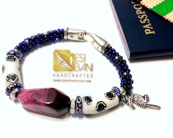 Orchid Agate Men's Bracelet/ Kumihimo/ Krobo Recycled Glass beads
