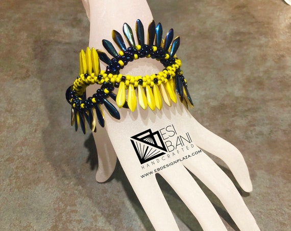 Fringed Criss-Cross Bracelet, Kumihimo bracelet, Chartreuse-Blue bracelet, beaded bracelet, Statement jewelry