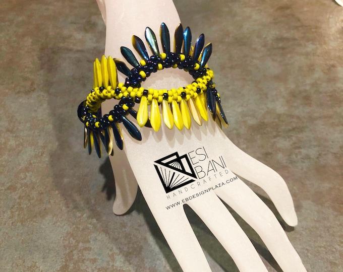 Fringed Criss-Cross Bracelet, Kumihimo bracelet, Chartreuse-Blue bracelet, beaded bracelet, Statement jewelry