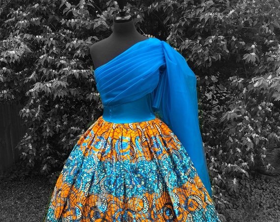 Turquoise 'n' Marigold Ball Gown, organza Dress, Sequin Ankara dress, draped bodice dress, hooped petticoat,