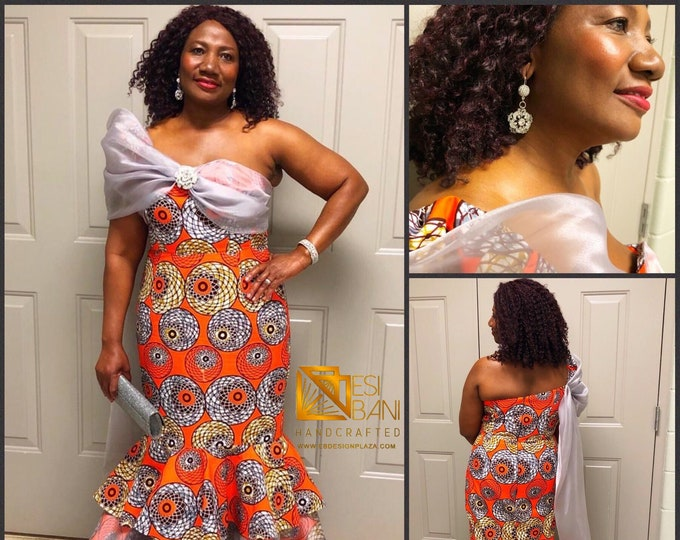 Mermaid African Print Gown/ Orange & Grey/ Ankara maxi dress / African prom / African wedding dress  / Ankara clothing / Ankara prom dress