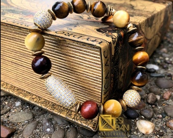 Mfalme Tiger Eye and Pavé Cubic Zirconia Men's Bracelet/ Gemstone bracelets/ Men's Jewelry