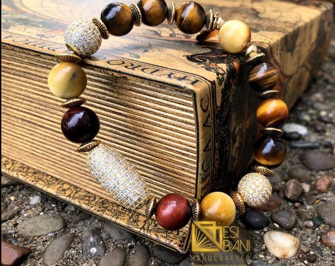 Mfalme Tiger Eye and Pavé Cubic Zirconia Men's Bracelet/ Gemstone bracelets/ Men's Jewelry