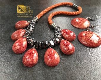 Peaches 'n' Silver Rocks Jewelry Set/ resort jewelry / boho chic/ Rose Gold jewelry