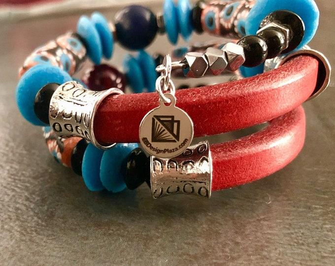 KETA LAGOON Men's Bracelet, Recycled Krobo Glass Wrap Bracelet, Memory Wire Bracelet