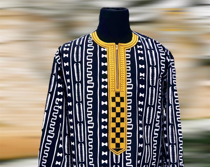 Black White & Gold MENS Shirt, Embroidered Long Sleeve African Print Shirt, Embroidered Shirt Ankara Shirt SKU MLSS1010