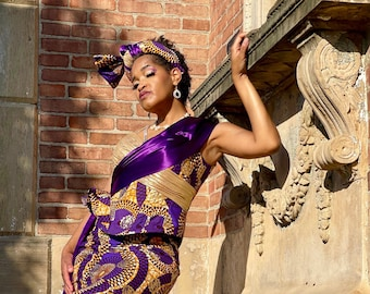 PURPLE REIGN MERMAID African Print Dress, draped bodice dress, Mother-the-Bride Dress, Special Occasion, Wedding & Anniversary Dress SOD1015