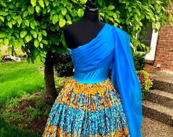 Turquoise 'n' Marigold Ball Gown, organza Dress, Sequin Ankara dress, draped bodice dress, hooped petticoat, SOD1006