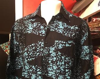 Navy Blue & grey  MENS SHIRT, Long Sleeve Dress Shirt, Ankara Shirt, African Wax Print Shirt