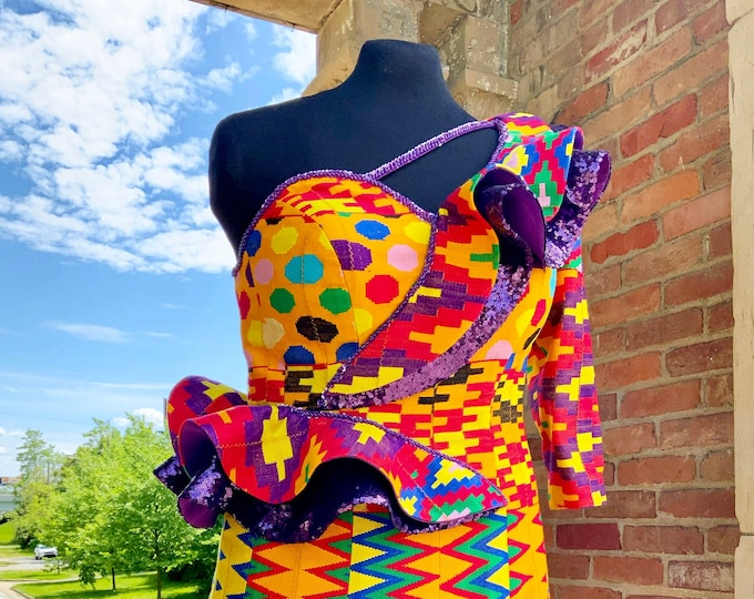 Kente Splendor One Arm  dress, Nyatefe Kente Dress, Purple, gold and burgundy dress, Multicolor Kente dress SKU SOD1013