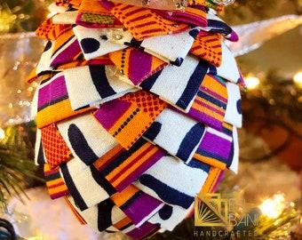 Mudcloth n Kente Christmas Ornament, Quilted Fabric Ornament, Pine Cone Ornament, Gold n Blue Ornament,  Ankara African Ornament SKU KCO1003