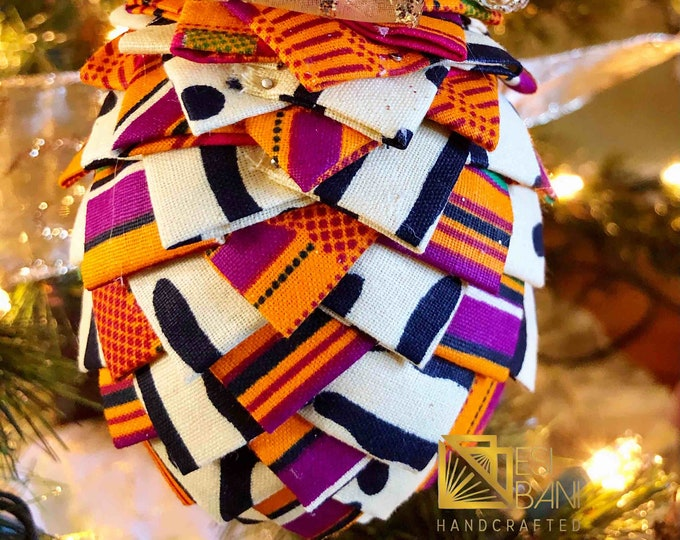 Mudcloth n Kente Christmas Ornament, Quilted Fabric Ornament, Pine Cone Ornament, Gold n Blue Ornament,  Ankara African Ornament SKU KCO1003