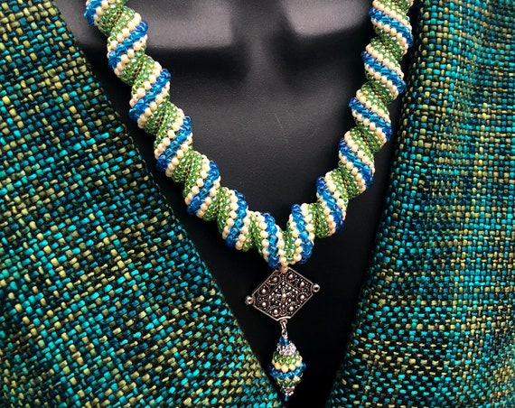 LORGORLIGI CELLINI Peyote Necklace, Blue-Green beaded neckpiece