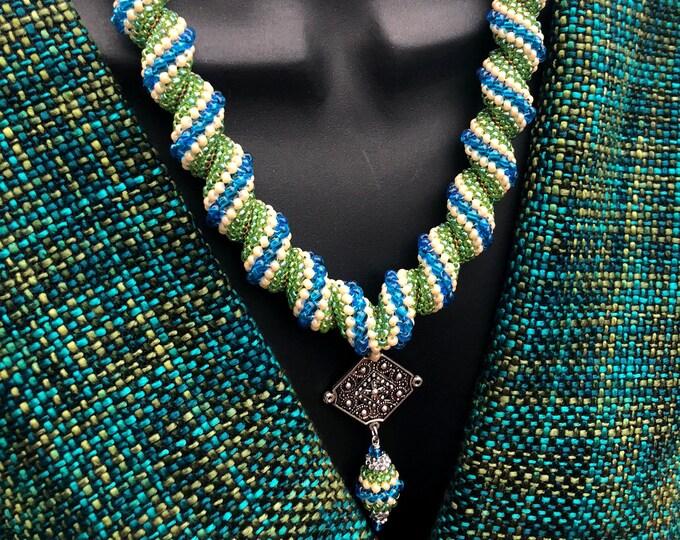 LORGORLIGI CELLINI Peyote Necklace, Blue-Green beaded neckpiece