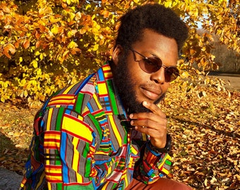 ROYAL KENTE MENS Shirt, African Print Shirt, Mens Long Sleeve shirt