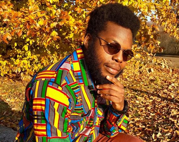ROYAL KENTE MENS Shirt, African Print Shirt, Mens Long Sleeve shirt