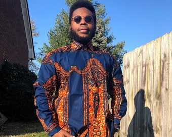 Blue 'n' Brick  MENS Shirt, African Print Long Sleeve Shirt,