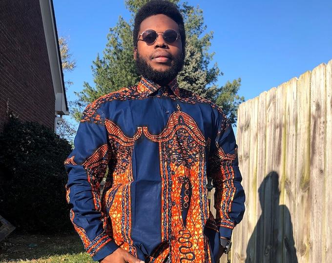 Blue 'n' Brick  MENS Shirt, African Print Long Sleeve Shirt,