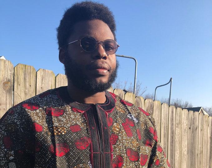 BURGUNDY n BRONZE MENS Shirt, African Print Embroidered Mens Shirt, Short Sleeve Shirt