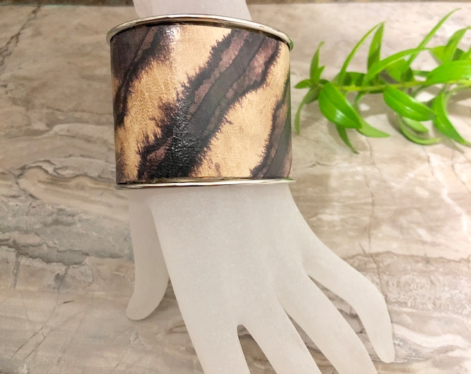 ZEBRA Shibori Wide Leather Cuff Bracelet, Adiré Leather Bracelet