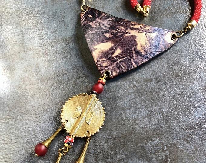 QUEEN MANA Shibori Leather Neckpiece, Bib Necklace, Handcrafted Leather Necklace
