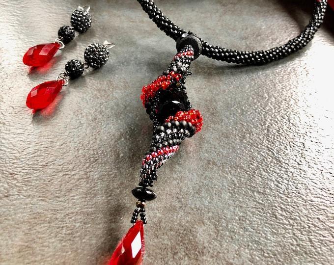 FLAMENCO Red and Black Choker 'n' Earrings Set,  Cellini Peyote and Kumihimo