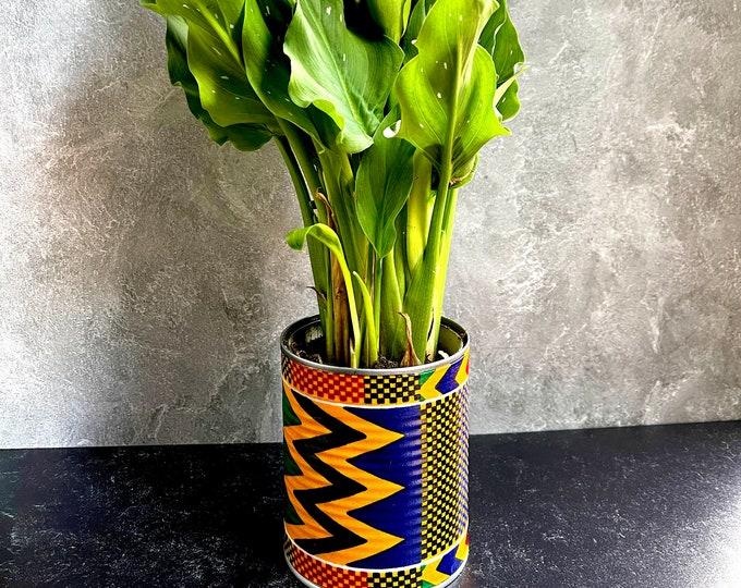 Kente Flower Planter, Decorative plant holder, Kente Planter , Gold n Blue Flower pot,  Ankara African Pot SKU KFP1001
