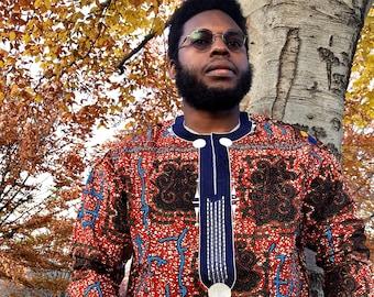Embroidered African Wax Print Men's Long Sleeves Shirt, Ankara Shirt, Summer Shirt, Cotton Shirt, Kitenge Shirt