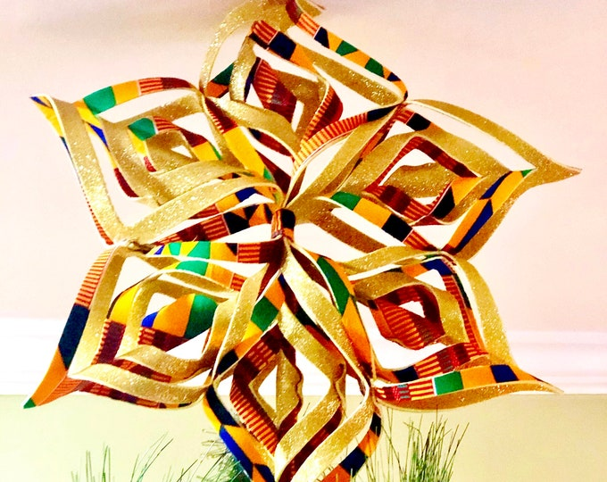 Kente n Gold Christmas Tree topper, African Fabric Tree Topper, fabric Ornament,  Royal Tree Topper, Ankara Ornament SKU KTT1001
