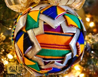 Kente Christmas Ornament,  Quilted Fabric Ornament, Round Ornament, Gold n Blue Royal Ornament,  Ankara African Ornament SKU KCO1001