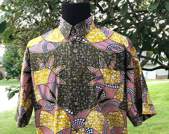Bronze n Peach Men's Short Sleeve Shirt, Ankara Shirt, African Wax Print Shirt, Summer Shirt, Cotton Shirt, Kitenge Shirt