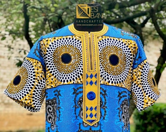 Embroidered African Men's Short Sleeves Shirt, Wax print, Ankara Shirt, Summer Shirt, Party shirt, Cotton Shirt, Kitenge Shirt, SKU MWPS1015