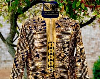 BRONZE KING Embroidered African Men's Long Sleeves Shirt, African Wax print Shirt, Ankara Shirt, Party shirt, Cotton Shirt, SKU MWPS1017