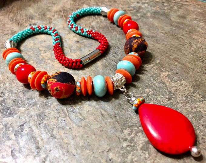 Red 'n' Turquoise Kumihimo Necklace